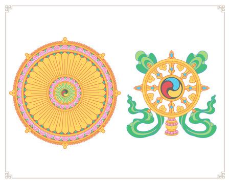 巡礼: ダルマ ホイール、Dharmachakra アイコン。フラットなデザインでダルマのホイール。仏教のシンボル。悟り、輪廻、カルマの復活からの解放へのパスに仏の教えのシンボルです。  イラスト・ベクター素材