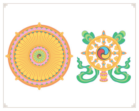tantra: Dharma Wheel, Dharmachakra Icons. Wheel of Dharma in flat design. Buddhism symbols. Symbol of Buddhas teachings on the path to enlightenment, liberation from the karmic rebirth in samsara.