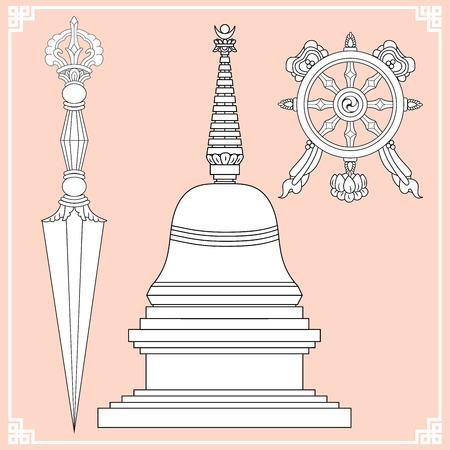 Buddhist symbols. Symbols wisdom & enlightenment. Nepal, Tibet. Stupa, Kila, Wheel of Dharma. Vector illustration.