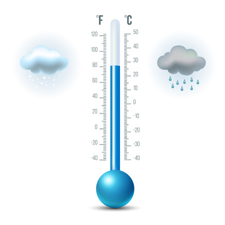 Vector illustration of shiny thermometer with rain and snow.