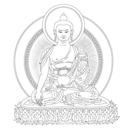 Vector illustration with Buddha in meditation 일러스트