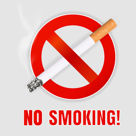 abstain: Realistic No smoking sign.