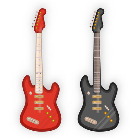 frets: Electric guitars in white background. Vector illustration. Illustration