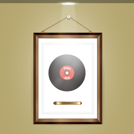 gold record: Vinyl disc in a realistic frame.