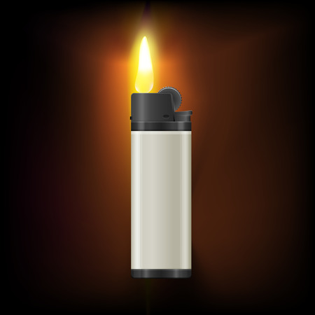 gas lighter: Realistic lighter  with burning flame