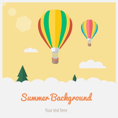 ballooning: Air balloons on the summer sky. Summer background Illustration