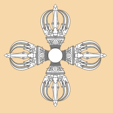 Vajra sign symbol Tibet logo. Buddhism