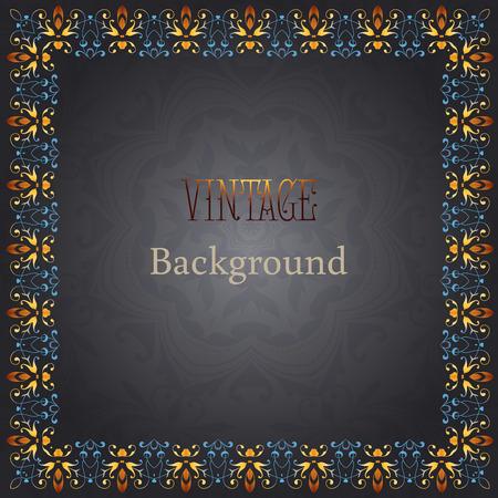 cadre antique: Vecteur antique b�ti sur fond noir. Vintage fond d'or. Illustration