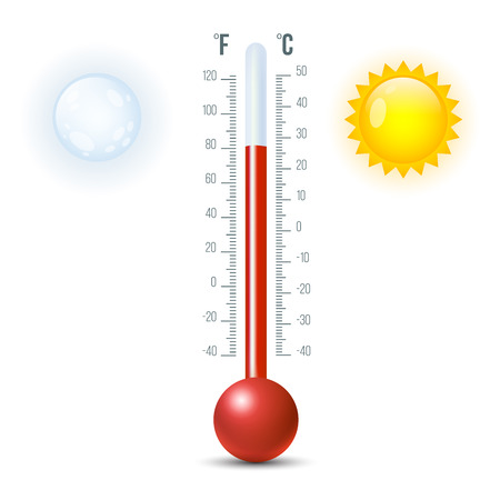 Vector illustration of shiny thermometer with sun and moon. Vectores