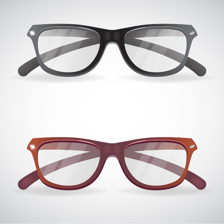 eyeglass: Collection of Eyeglasses and Sunglasses. Black and red isolated on white background, vector illustration.