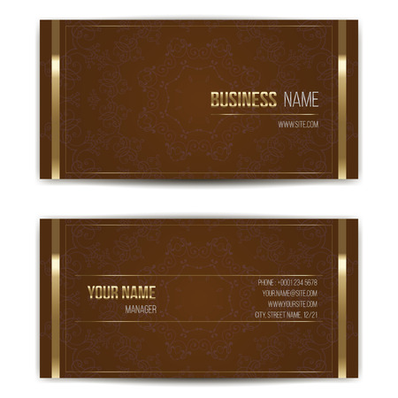 Elegant vector business card template. Vector format. Gold and dark colors. Illustration