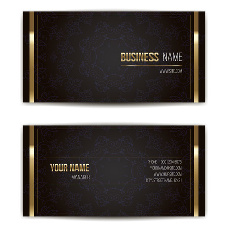 card: Elegant vector business card template. Vector format. Gold and dark colors. Illustration