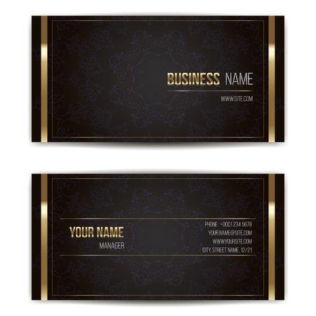 personalausweis: Elegante Vektor Visitenkarte Vorlage. Vektor-Format. Gold und dunklen Farben.