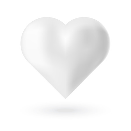 mariage: Realistic white 3d valentine heart with glare on white background. Vector illustration