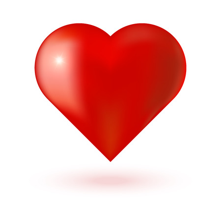 glare: Realistic red 3d valentine heart with glare on white background. Vector illustration Illustration