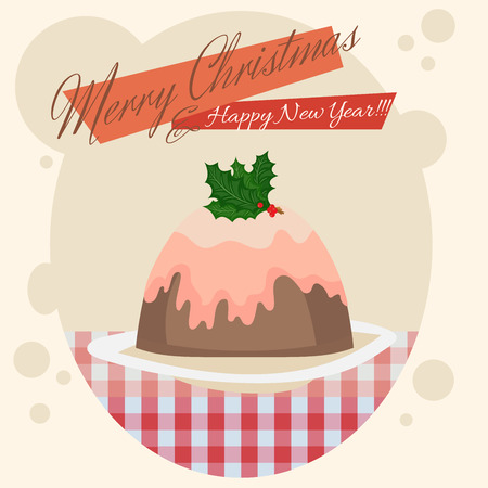 christmas pudding: Christmas card with a delicious pudding. Cartoon design. Vector illustrator.