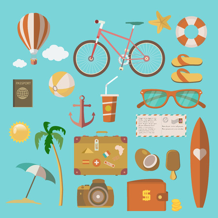 Summer holiday icons. Vector illustration.