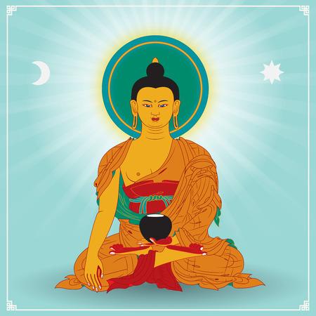 cabeza de buda: Ilustración vectorial con Buda en la meditación.