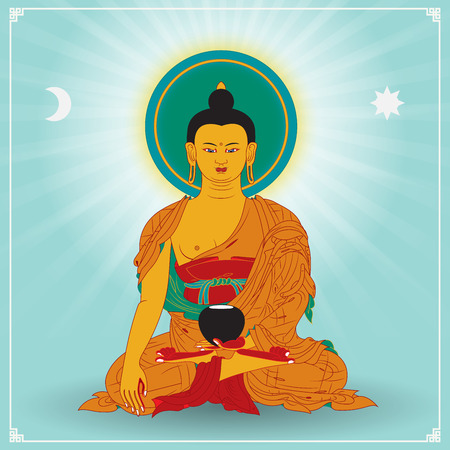 Vector illustratie met Boeddha in meditatie.