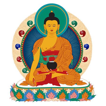 Vector illustratie met Boeddha in meditatie.