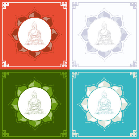 buddhist: Silhouette of Buddha in a lotus. Vector illustration with Buddha in meditation.
