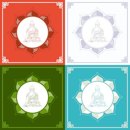 cabeza de buda: Silueta de Buddha en un loto. Ilustraci�n vectorial con Buda en la meditaci�n.