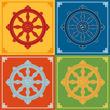 Dharma Wheel Dharmachakra Icons. Buddhism symbols.