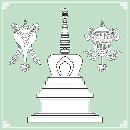 Buddhist symbols. Symbols wisdom & enlightenment. Nepal, Tibet. Stupa, Endless knot. Vector illustration.