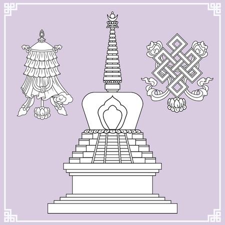 stupa: Buddhist symbols. Symbols wisdom & enlightenment. Nepal, Tibet. Stupa, Endless knot. Vector illustration.