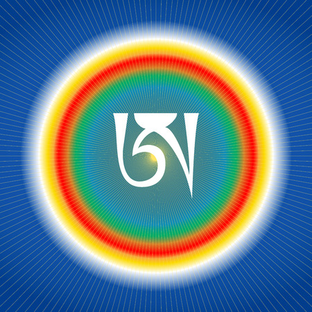 White syllable A on blue background. Tibetan letter A. Dzogchen symbol. Buddhism. Vectores