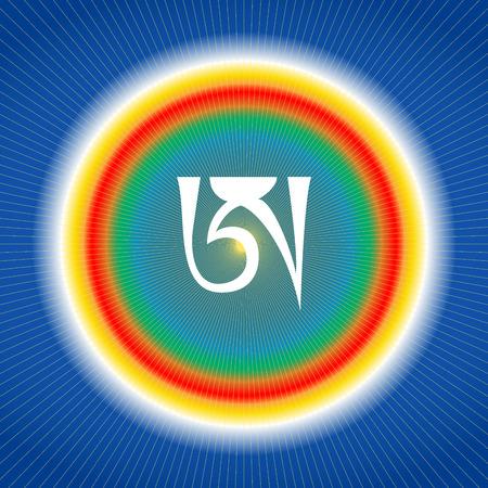 White syllable A on blue background. Tibetan letter A. Dzogchen symbol. Buddhism. Vectores