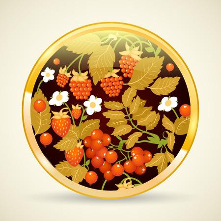 hohloma: Russian traditional ornament Hohloma painted on a tray. Khokhloma style. Vector illustration.