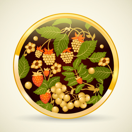 traditional pattern: Russian traditional ornament Hohloma painted on a tray. Khokhloma style. Vector illustration.