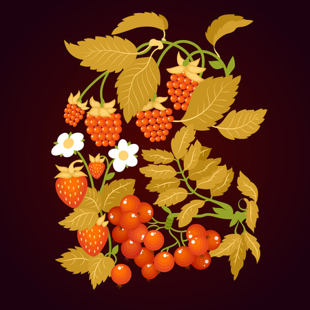 hohloma: Traditional Russian Khokhloma Ornament on dark background. Hohloma style. Vector Illustration.