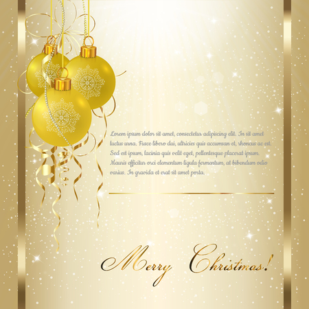 gold brown: Light Christmas background with gold evening balls. Vector illustration.
