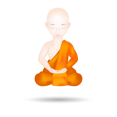 levitation: Buddhist Monk in meditation pose. Levitation. Isolated in white background. Vector Illustration. Illustration