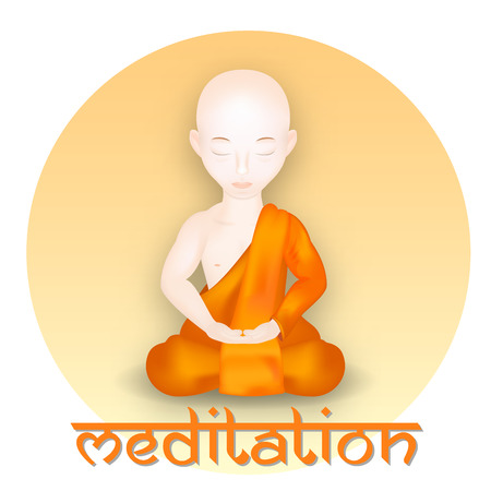 Buddhistischer Mönch in Meditation Pose. Vektor-Illustration. Vektor-Icon- Standard-Bild - 44260853