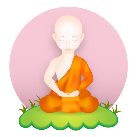stupa: Buddhist Monk in meditation pose. Vector Illustration. Vector icon