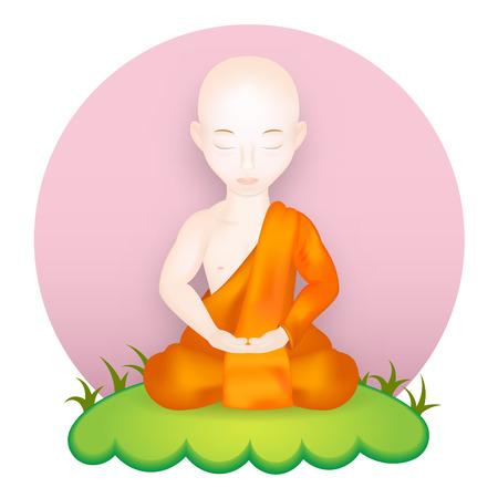 nirvana: Buddhist Monk in meditation pose. Vector Illustration. Vector icon