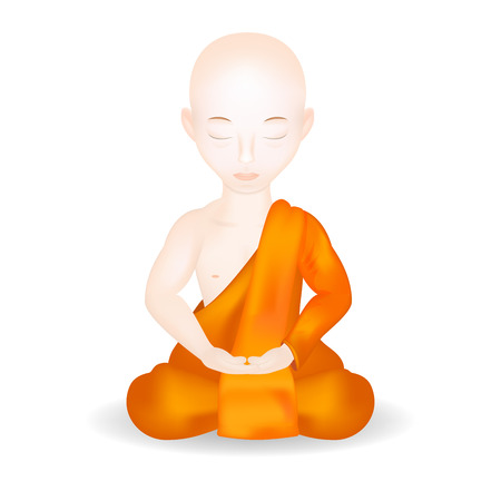 Buddhist Monk in meditation pose. Isolated in white background. Vector Illustration.