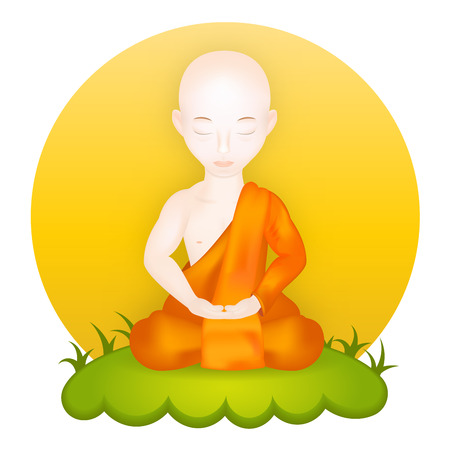 thai buddha: Buddhist Monk in meditation pose. Vector Illustration. Vector icon