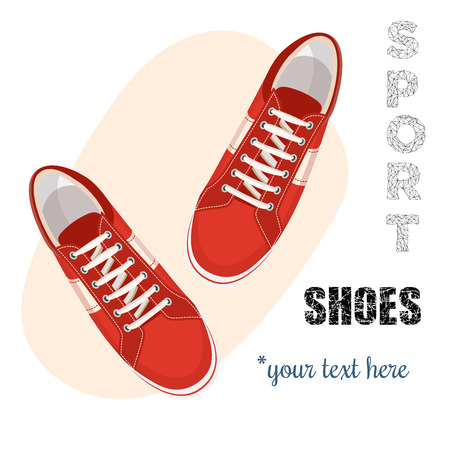 shoes vector: Red sneakers for unisex. Sport shoes. Vector illustration isolated on white background.