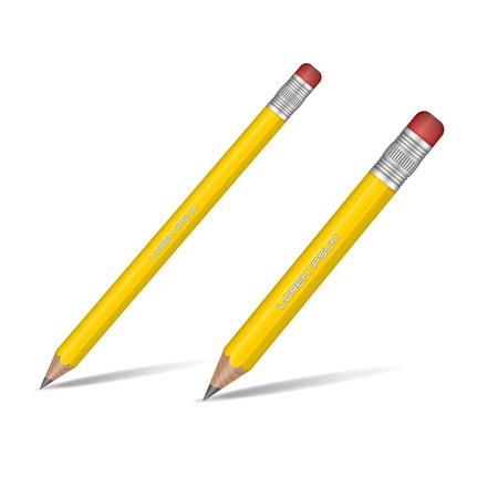 pencil paper: Amarilla realista l�piz afilado aislado sobre fondo blanco. L�piz de madera. Ilustraci�n del vector.
