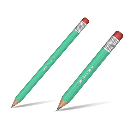 sharp pencil: Realistic green sharp pencil isolated on white background. Wooden pencil. Vector illustration. Illustration