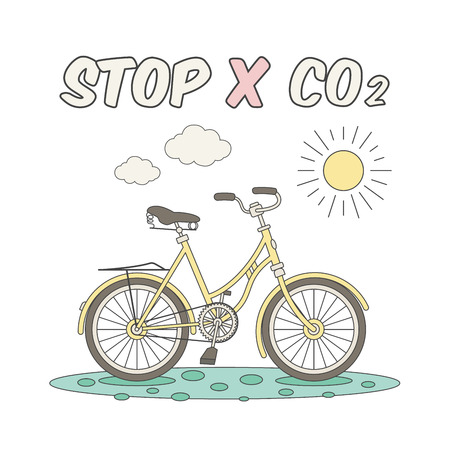 petition: Ecology concept illustration with cartoon bicycle, isolated on white background. Illustration