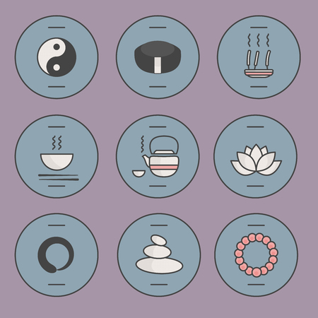 zen attitude: Icônes zen Mignon fixés pour Web, des applications et de bureau. Bouddhisme. Vector illustration. Illustration