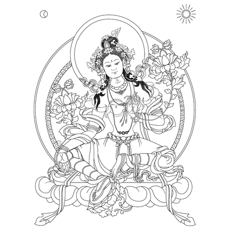 Green Tara in Tibetan Buddhism, is a female Bodhisattva in Mahayana Buddhism who appears as a female Buddha in Vajrayana Buddhism.