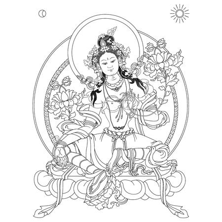 Green Tara in Tibetan Buddhism, is a female Bodhisattva in Mahayana Buddhism who appears as a female Buddha in Vajrayana Buddhism.