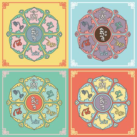 Mantra Om Mani Padme Hum dans le Lotus. Bouddhisme. Conception de bande dessinée. Vector illustration.