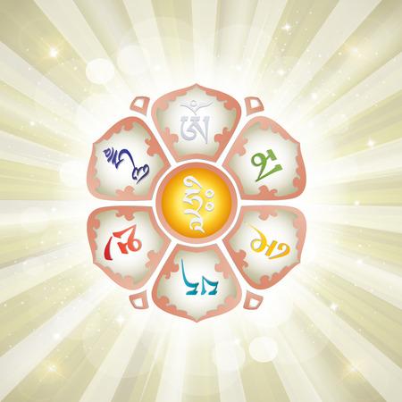 Mantra OM MANI PADME HUM in the Lotus. Buddhism. Vector illustration. 向量圖像